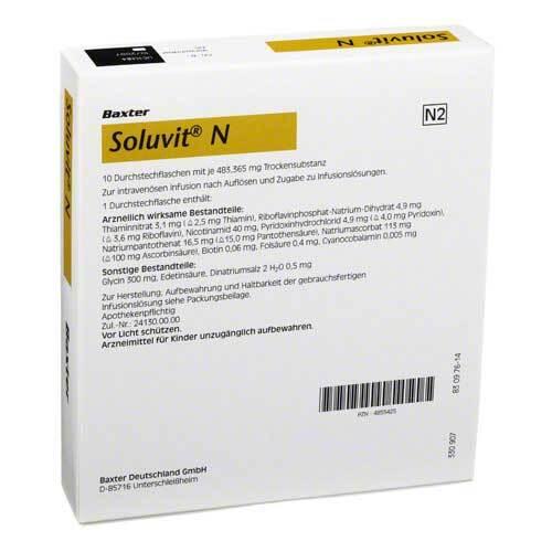 Baxter Deutschland GmbH Medication Delivery Soluvit N Trockensubstanz ohne Lösungsmittel 04855425